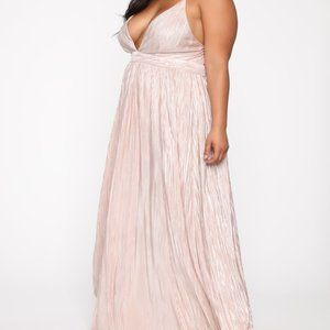 Pleated Maxi Dress - Champagne fashion nova
